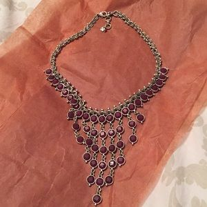 Jewelry - Brushed silver necklace with maroon stones